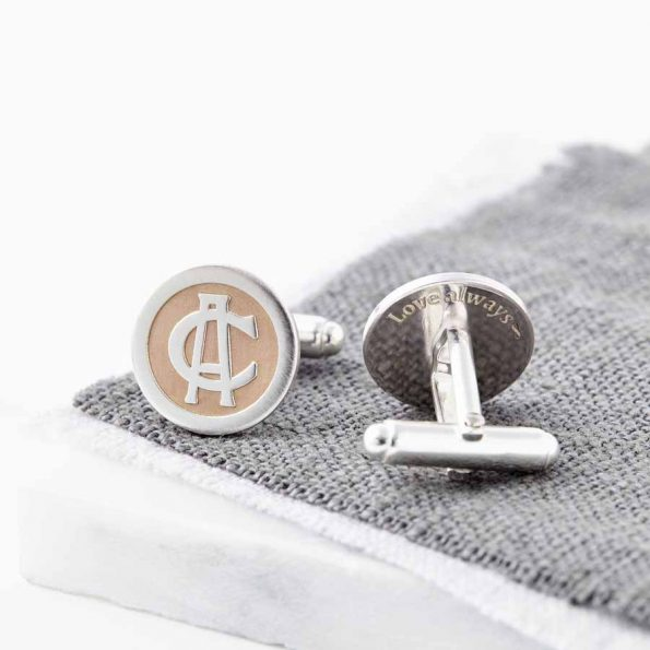 Rose Gold And Silver Entwined Monogram Cufflinks