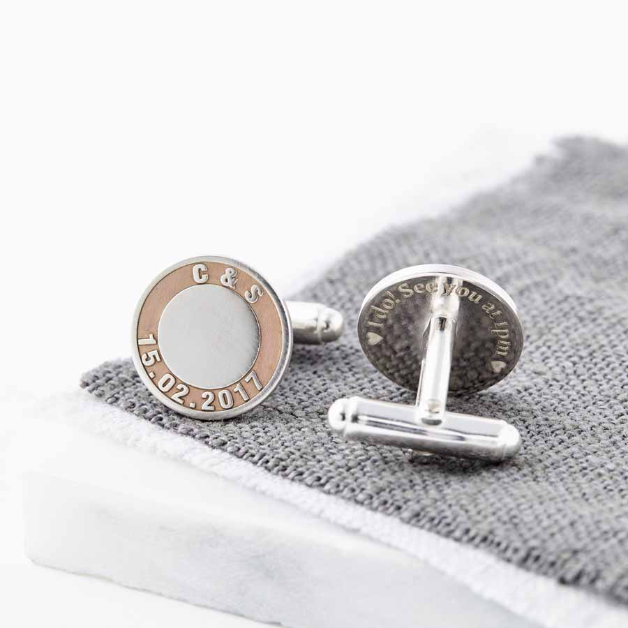 Rose Gold And Silver Initials and Date Cufflinks