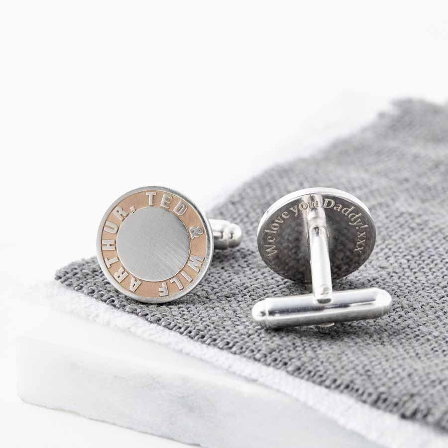 Personalised Rose Gold and Silver Names Cufflinks