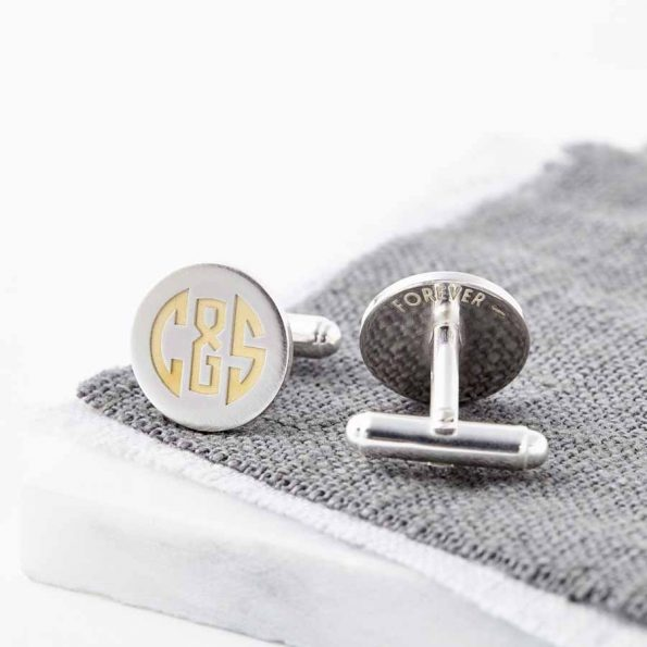 Personalised 24ct Gold And Silver Art Deco Initials Cufflinks