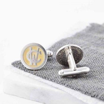 Personalised 24ct Gold And Silver Entwined Monogram Cufflinks