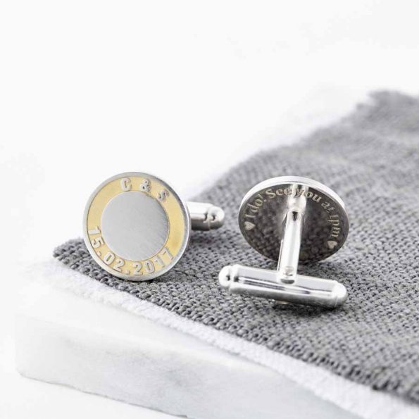Personalised 24ct Gold And Silver Initials and Date Cufflinks