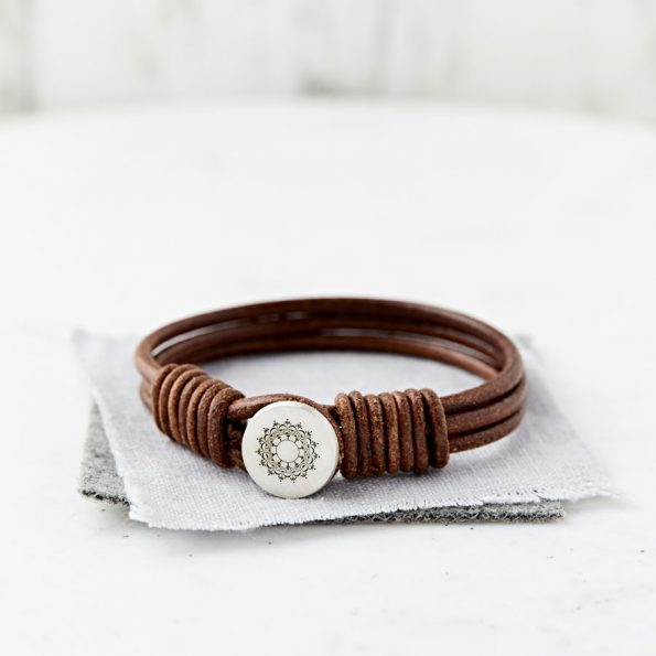 Personalised Mandala Silver And Leather Bracelet