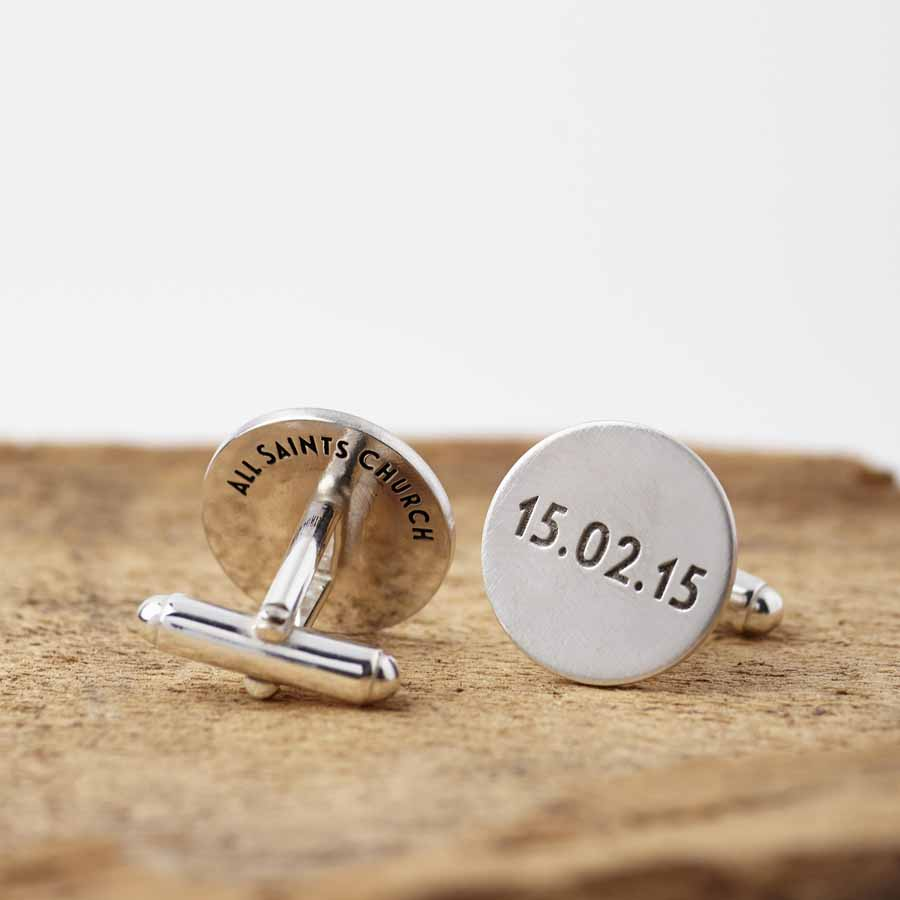 personalised engraved round sterling silver cufflinks by ... |Silver Cufflinks
