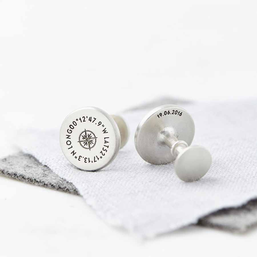 Personalised Solid Silver Coordinate Cufflinks