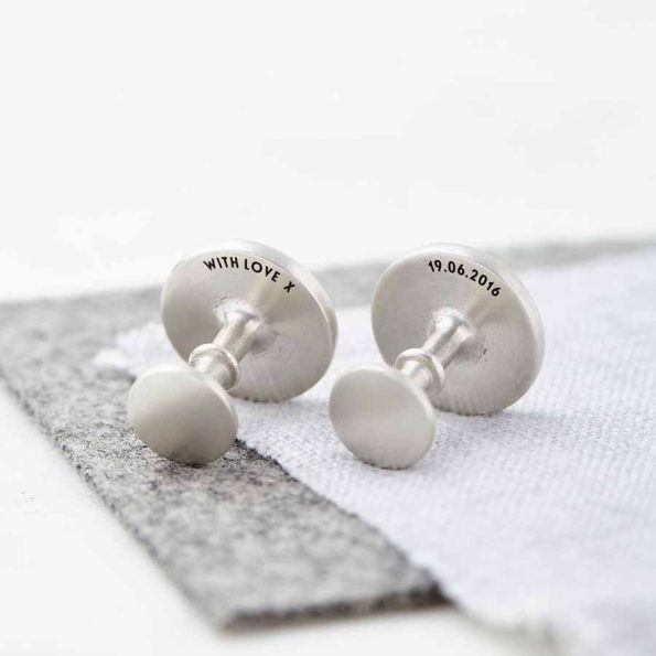 Personalised Solid Silver Coordinate and Date Cufflinks