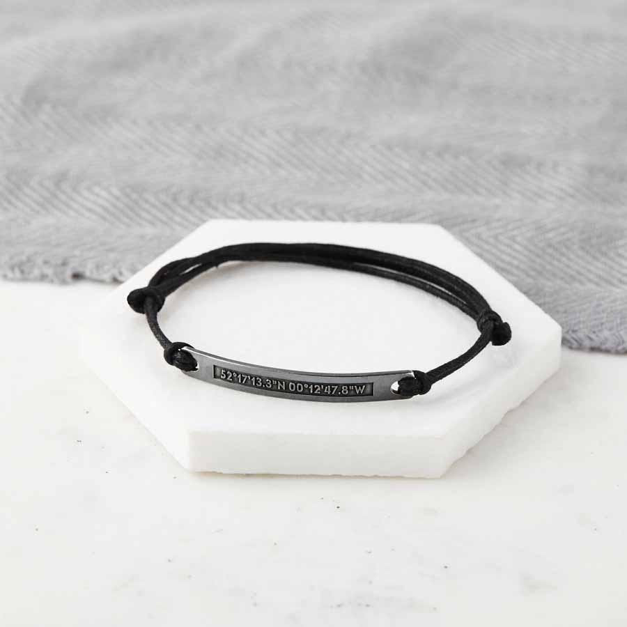 2d3faf41421d0 Personalised Silver Coordinate Hidden Message Bracelet