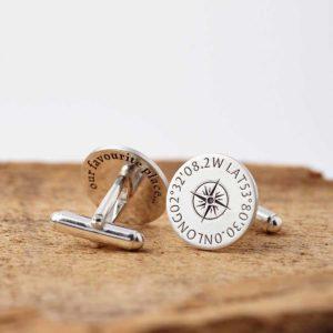 Personalised Sterling Silver Coordinates Cufflinks