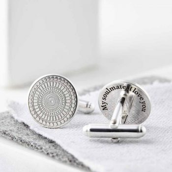 Personalised Engraved Round Sterling Silver Cufflinks