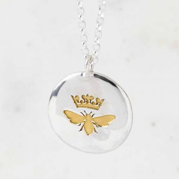 Personalised Sterling Silver Gold Queen Bee Necklace