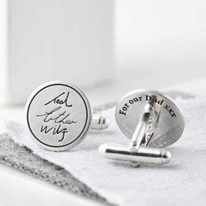Personalised Sterling Silver Handwriting Signature Cufflinks