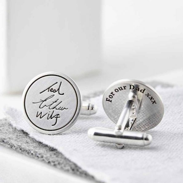 Personalised Sterling Silver Handwriting Signature Cufflinks