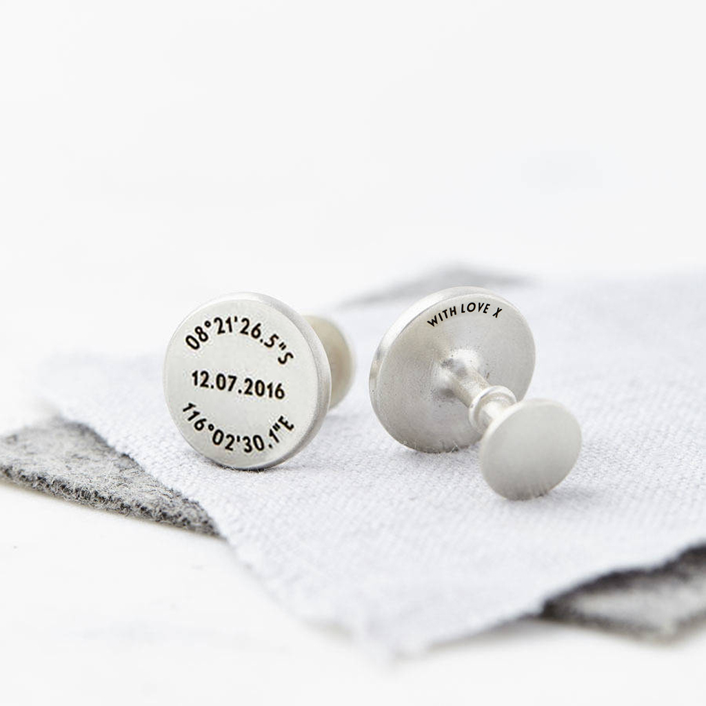 Personalised Silver And Leather Coordinate and Date Cufflinks