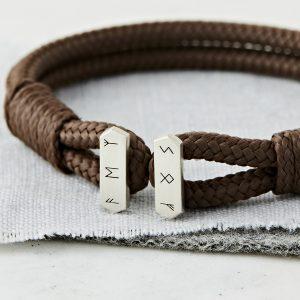 Men's Personalised Ancient Symbols Silver Bracelet